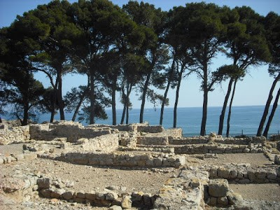 View of the ruins of the greek colony by the mediterranean